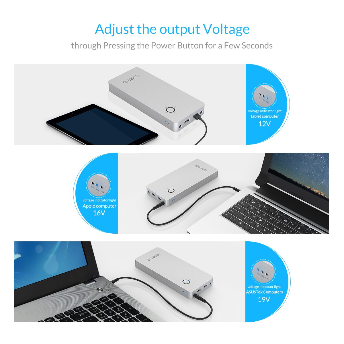 ORICO 18000mAh Aluminum Power Bank with DC input/output and 2 Quick Charge USB Ports - Perfect for PC, Laptop, Phone, Kindle, Tablets & More by ORICO (Image #2)