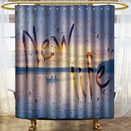 PRUNUSHOME Lake House Decor Shower Curtain Rain Drops And New Life Phrase On Wet Steamy Glass