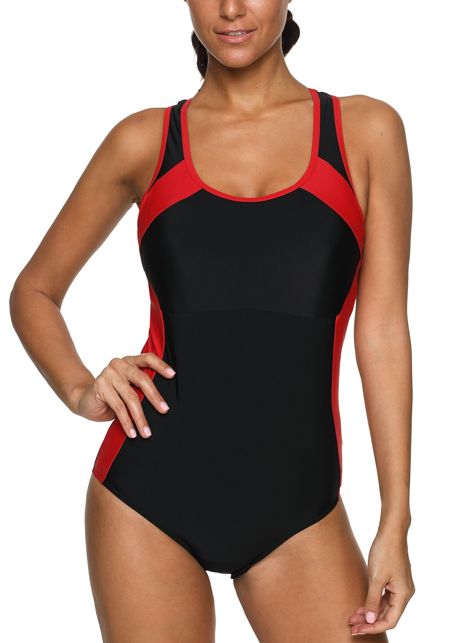 ATTRACO Woman Workout Activewear Swimsuit Racerback Athletic Bathing Swimming Suit Black XL by ATTRACO