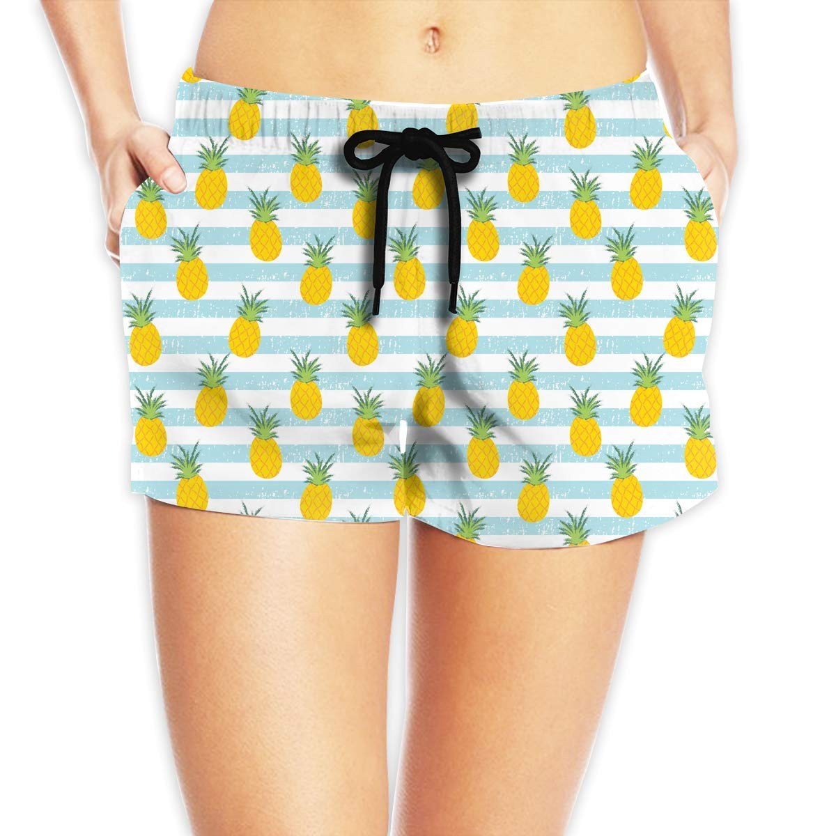 Hlcenng Pink Flamingo and Topical Leaves Pattern Womens Board//Beach Shorts Casual Classic Swimming Shorts