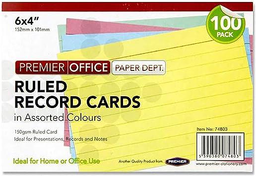 Premier oficina 6 x 4 mm Tarjeta de registro – colores surtidos ...