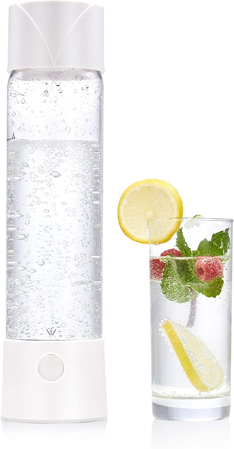 CO-Z Portable Sparkling Water Maker White, 1.6 Pint Homemade Soda Pop Maker Machine, 750mL Seltzer Water Fizzy Drink and Soda Maker for Home, Carbonated Drink Maker, 8g CO2 Cartridge is Not Included