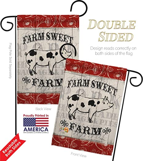 Amazon Com Barnyard Animals Sweet Farm Pig Garden Flag Set With Stand Cow Horse Rooster Farmhouse Pet Nature Animal Creature Small Decorative Gift Yard House Banner Double Sided Made In Usa 13 X