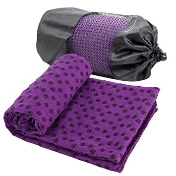 Hot Yoga Mat Toalla Manta antideslizante Con Los Puntos de placas de silicona + Mesh Carry