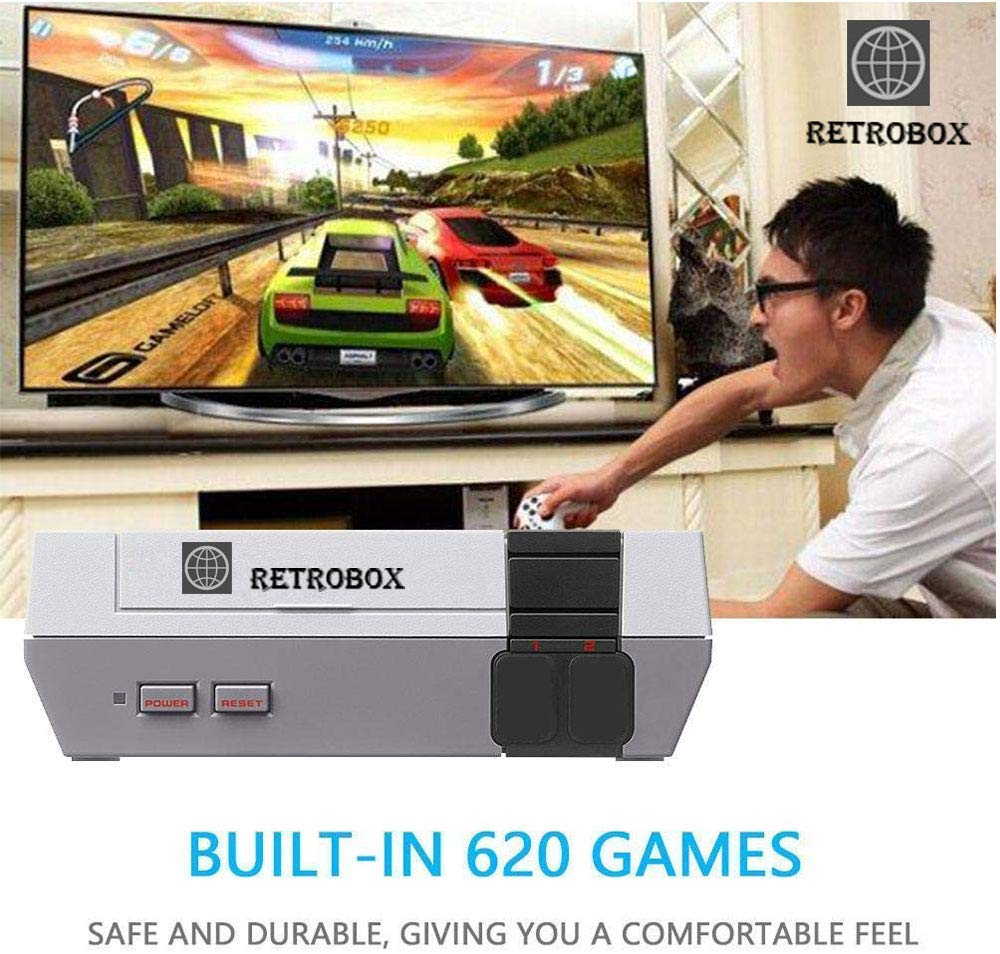 Retro Classic Game Console Retro Childhood Game Classic Game Consoles Built-in 620 Childhood Classic Game Dual Control 8-Bit Console Handheld Game Player Console for Classic Games Family TV Video by RetroBox (Image #3)