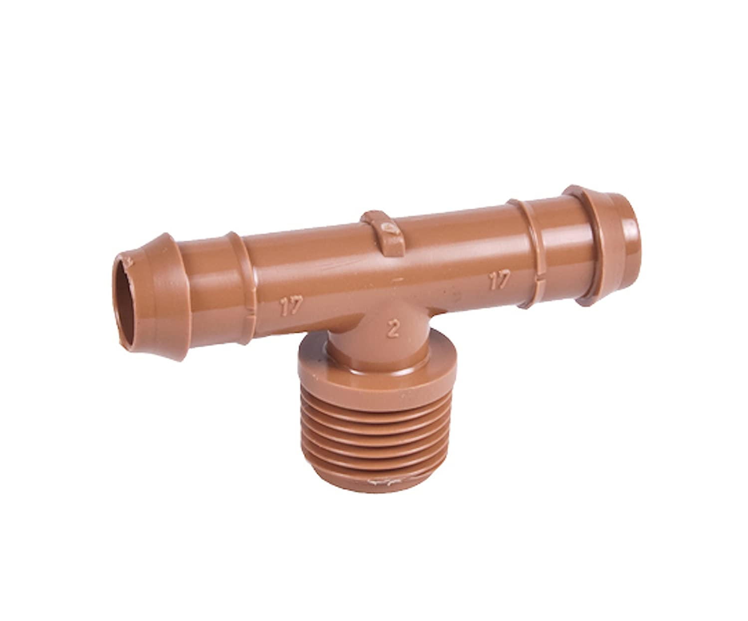 1//2 Tee x 17mm .600 ID Insert Connector 25-Pack 1//2 Drip Tubing Barb Adapter TEE Threaded Fitting MNPT DIG