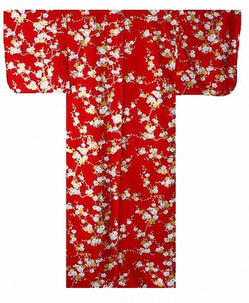 Red S56 in. 142 cm Samurai Market Authentic Japanese Women's Yukata Kimono White Plum  960