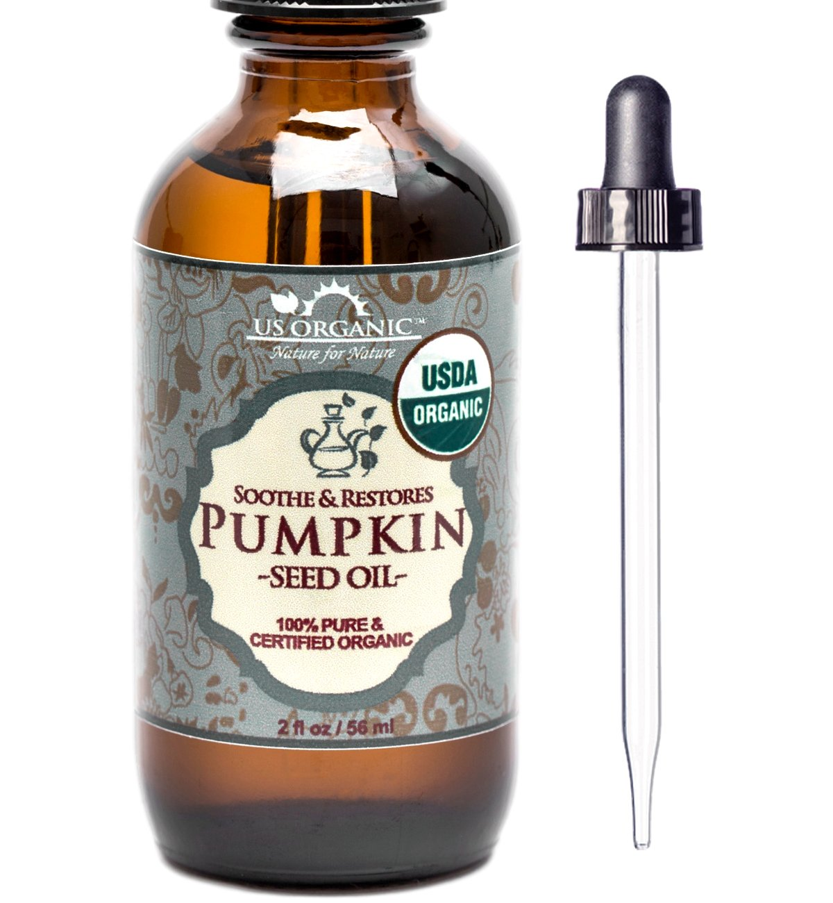 US Organic Pumpkin Seed Oil, USDA Certified Organic,100% Pure & Natural, Cold Pressed Virgin, Unrefined in Amber Glass Bottle w/ Glass Eyedropper for Easy Application (2 oz (56 ml))