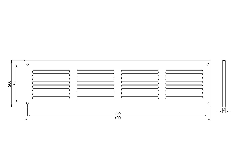 Grille da/ération 400 x 200 mm mr4020 m/étallique persienne blanche 40 x 20 cm Avec moustiquaire