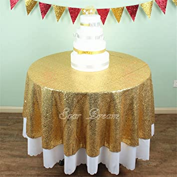 Wonderful SoarDream Gold Sequin Tablecloth 50 Inch Round Glitter Wedding Sequin  Tablecloth
