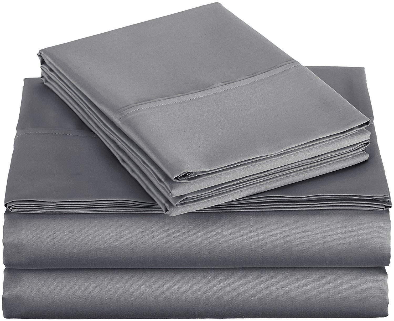 Shreem Linen Microfiber Sheets RV King Bed Sheet Set 4-Pieces Bedding Set - 15'' Extra Deep Pockets Dark Grey Solid, RV King Sheet Sets