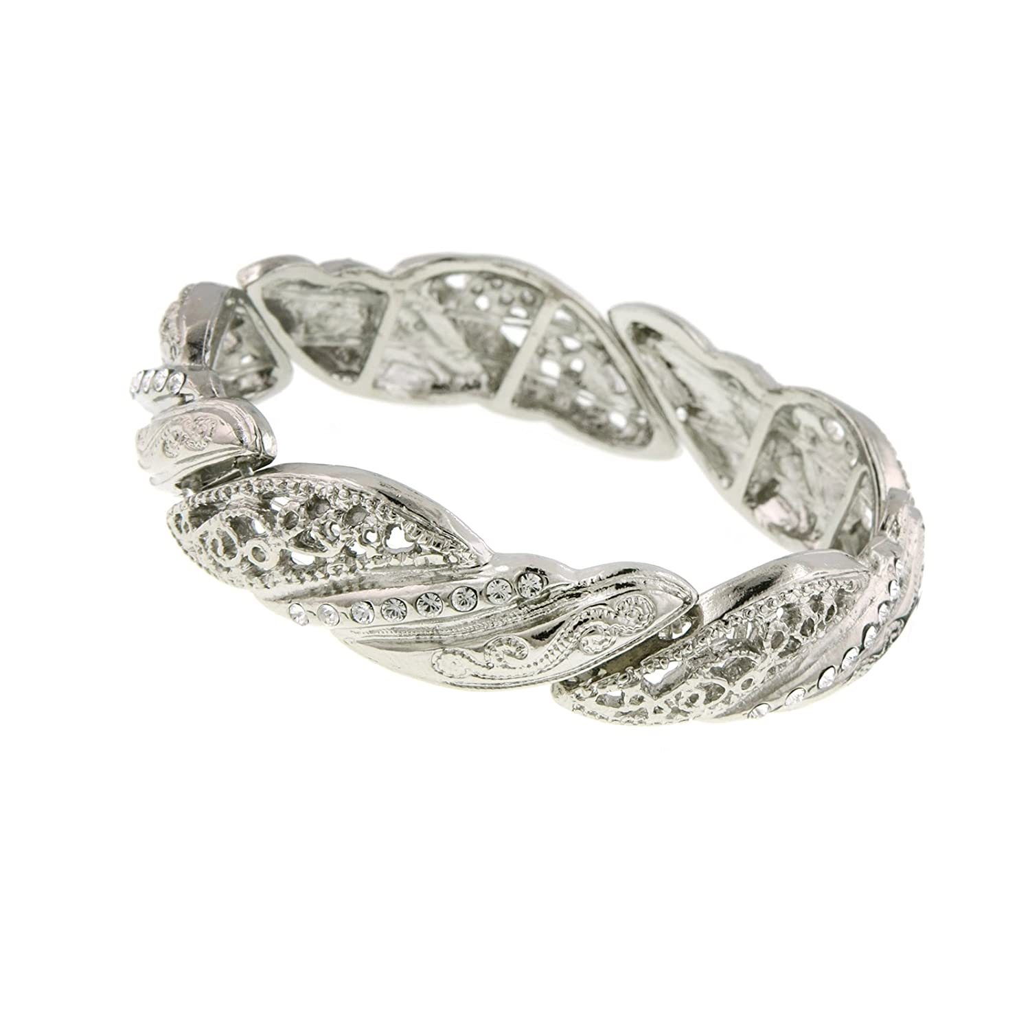 1930s Outfit Ideas for Women 1928 Jewelry Silver Filigree Twist Crystal Bracelet $28.00 AT vintagedancer.com
