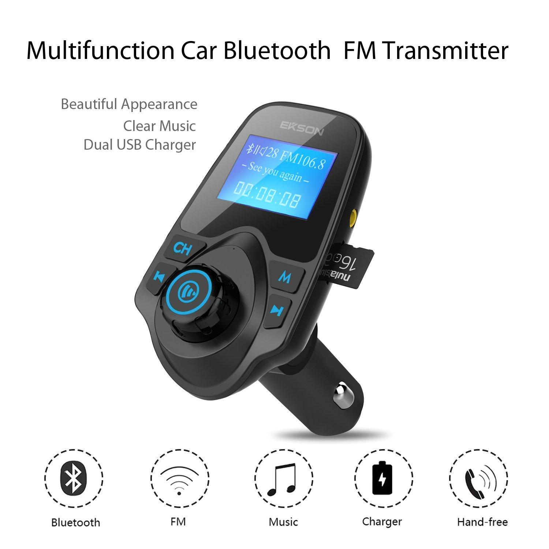manos libres Inal/ámbrico Bluetooth coche MP3/reproductor transmisor de Radio FM Kit de coche Transmisor de radio FM Unidad US universal cargador de coche con doble USB puertos de carga ranura para tarjeta TF//SD 3,5/mm Puerto de audio