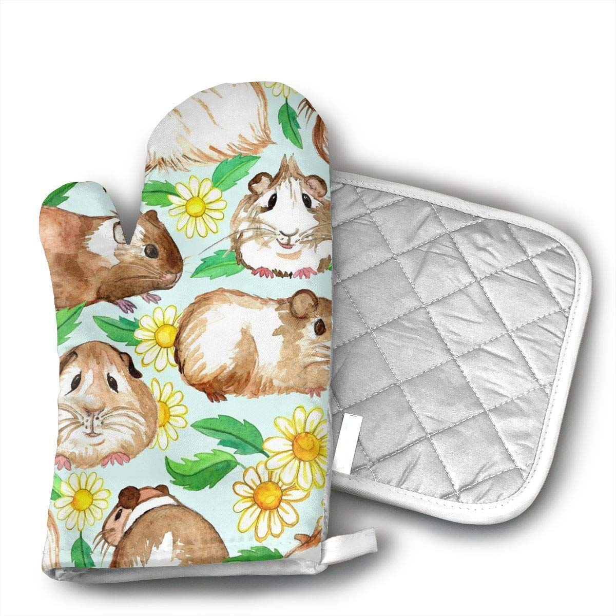 Guinea Pigs Daisies Oven Mitts and Pot Holders Set with Polyester Cotton Non-Slip Grip, Heat Resistant, Oven Gloves for BBQ Cooking Baking, Grilling