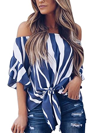 4832520a1d8 Nuker Women s Striped Off Shoulder Bell Sleeve Shirt Tie Knot Casual  Blouses Tops