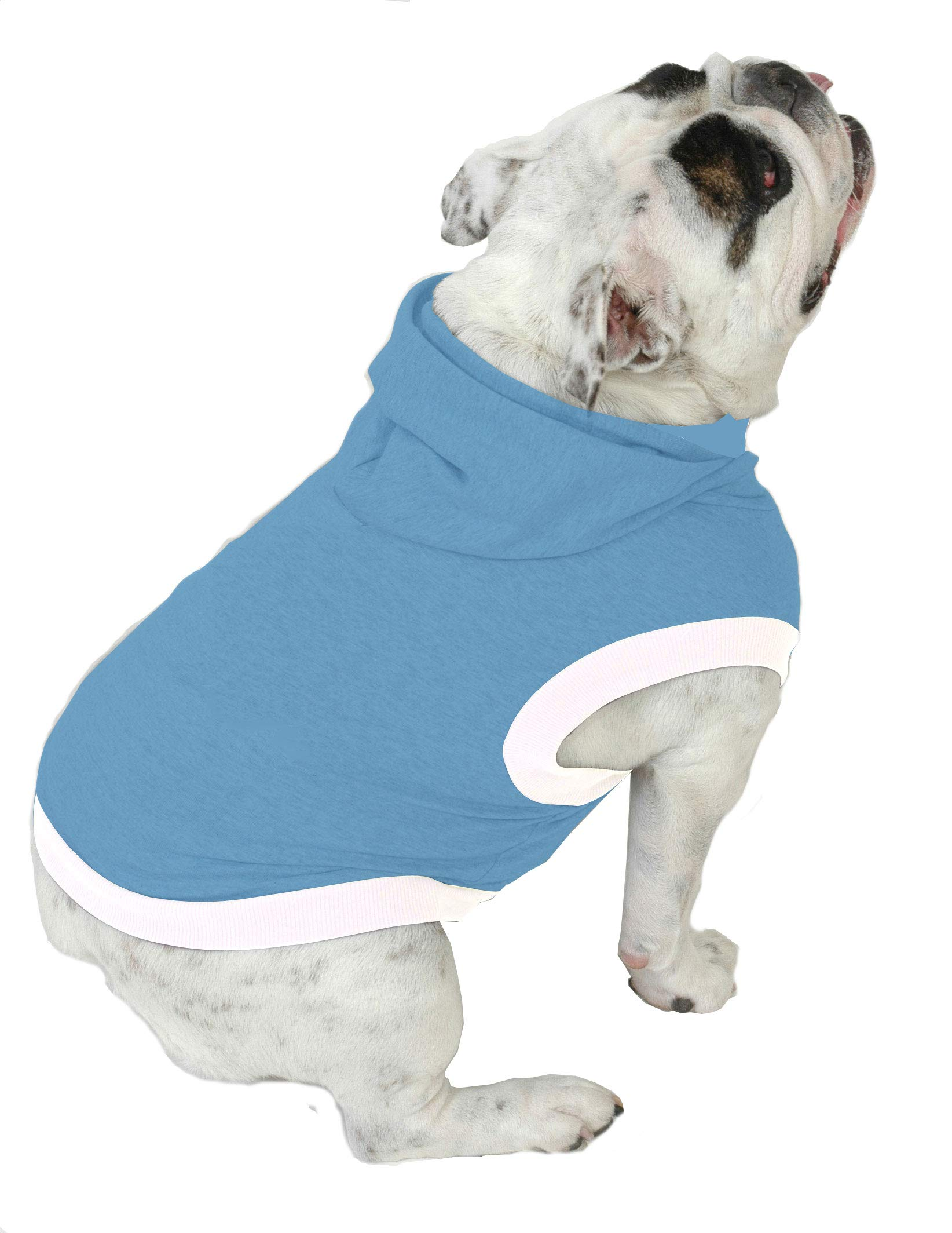 Plus Size Pups English Bulldog Dog Hoodie Tshirt - Beefy Over 8 Colors & Patterns to Choose from (Bigger Than Beefy, Baby Blue)
