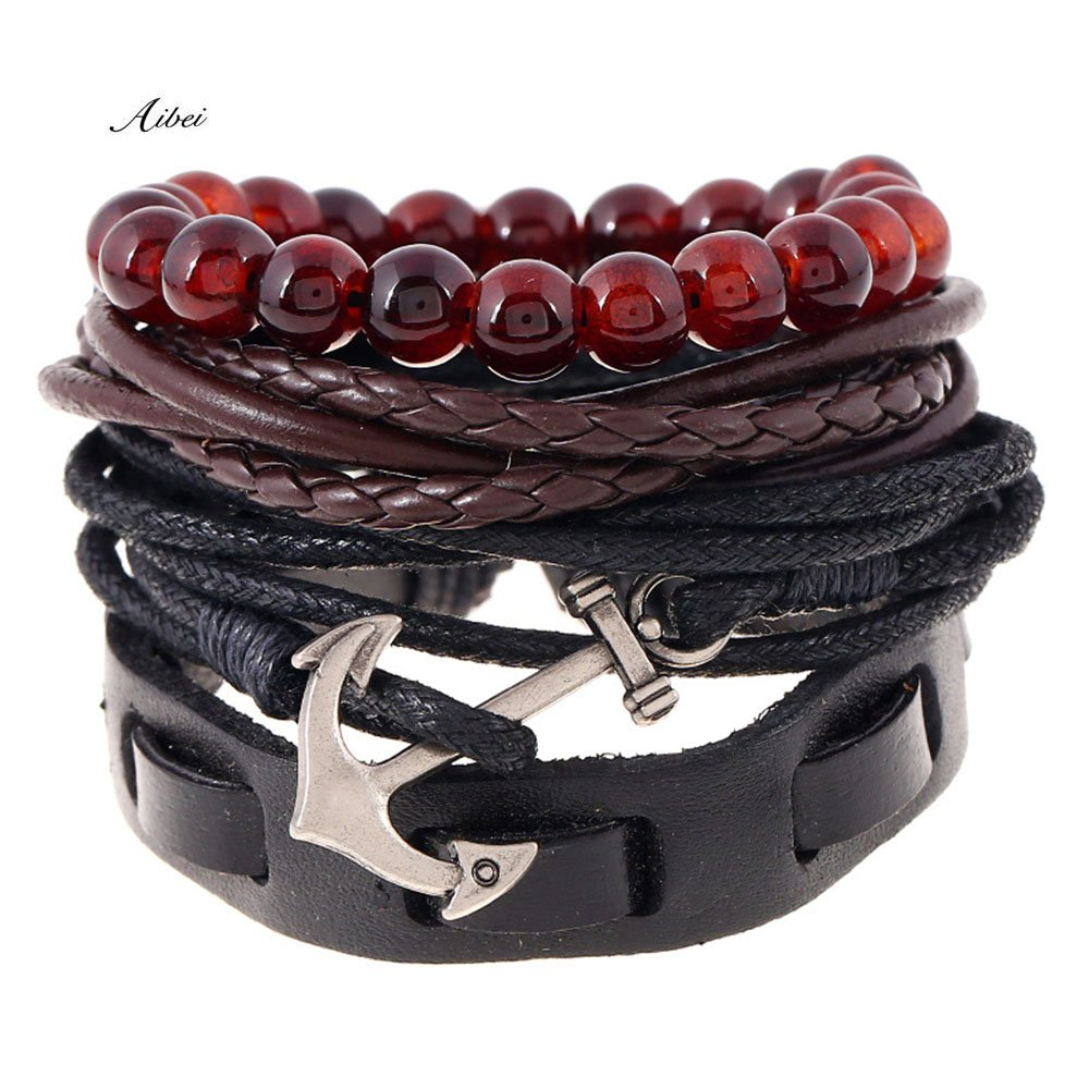 Aibei Handmade Leather Charm Bracelet for Men Braided Wrist Cuff, Adjustable CHINA