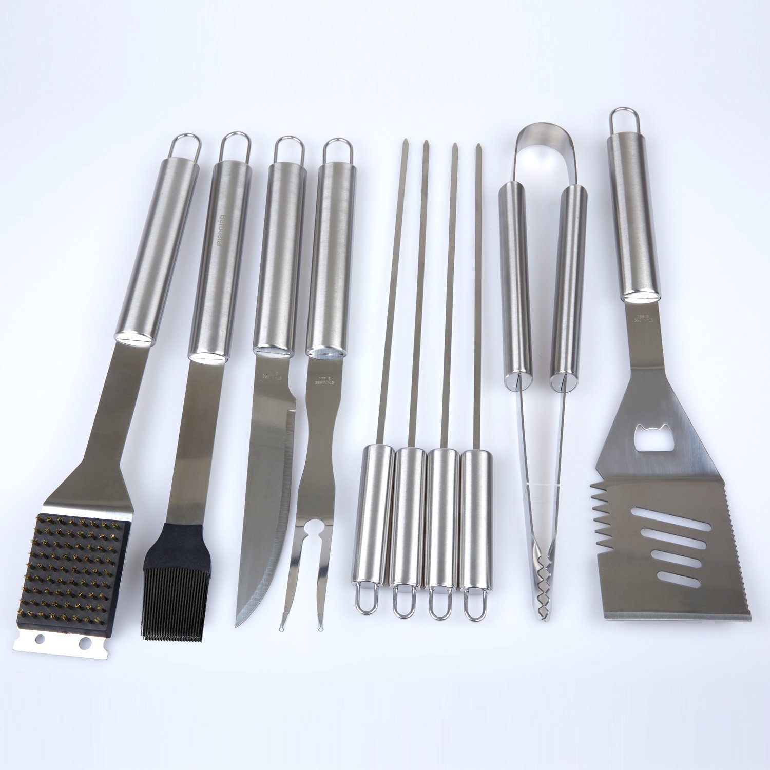 Kacebela BBQ Grill Tools Set Forks Spatula 19-Piece Premium Stainless Steel Barbecue Grilling Utensils with Aluminum Case Skewers Grill Brush Tongs