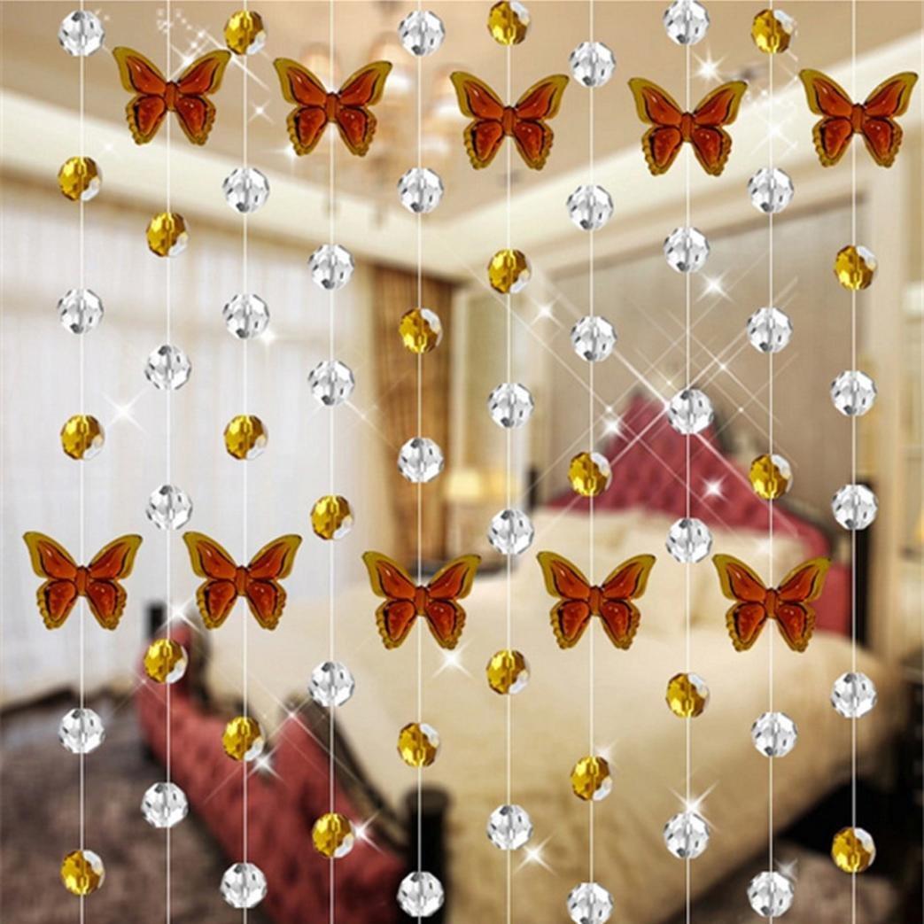 Diadia Crystal Glass Bead Curtain Luxury Living Room Bedroom Window Door Wedding Decor-Butterfly design, Crystal Ball and Pendant (Yellow)