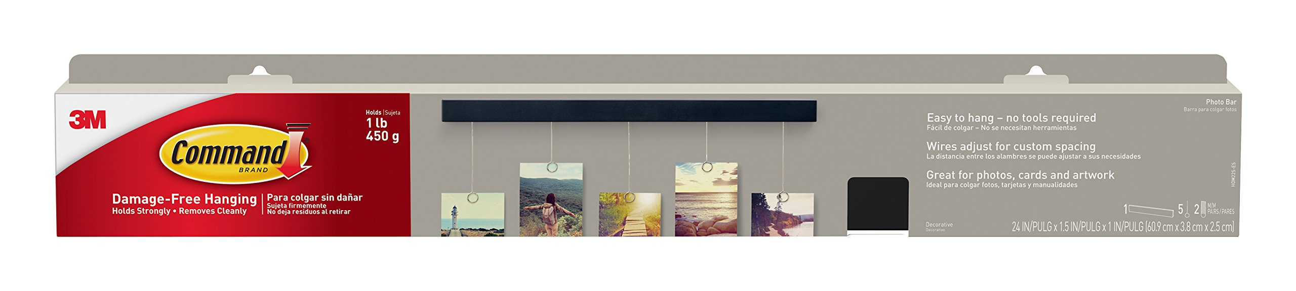 Command Photo Bar, 1-Bar, 5-Wires, 2-Sets of Medium Picture Hanging Strips (HOM22S-ES)