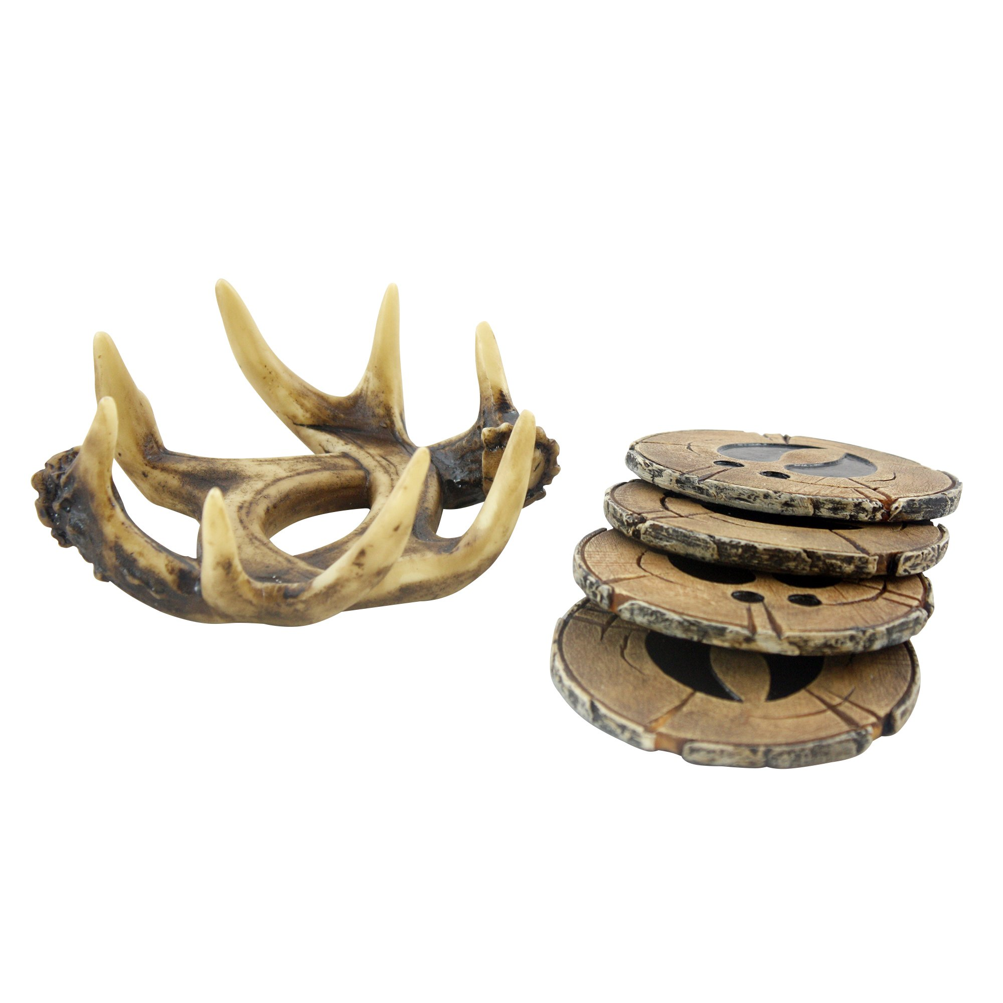 Pine Ridge Old West Deer Antler Drink Coasters Set Of 4 - Home Table Beverage Coaster With Holder - Drink Glass Holder With Outdoors Rustic Cabin Theme Decor by Pine Ridge (Image #3)
