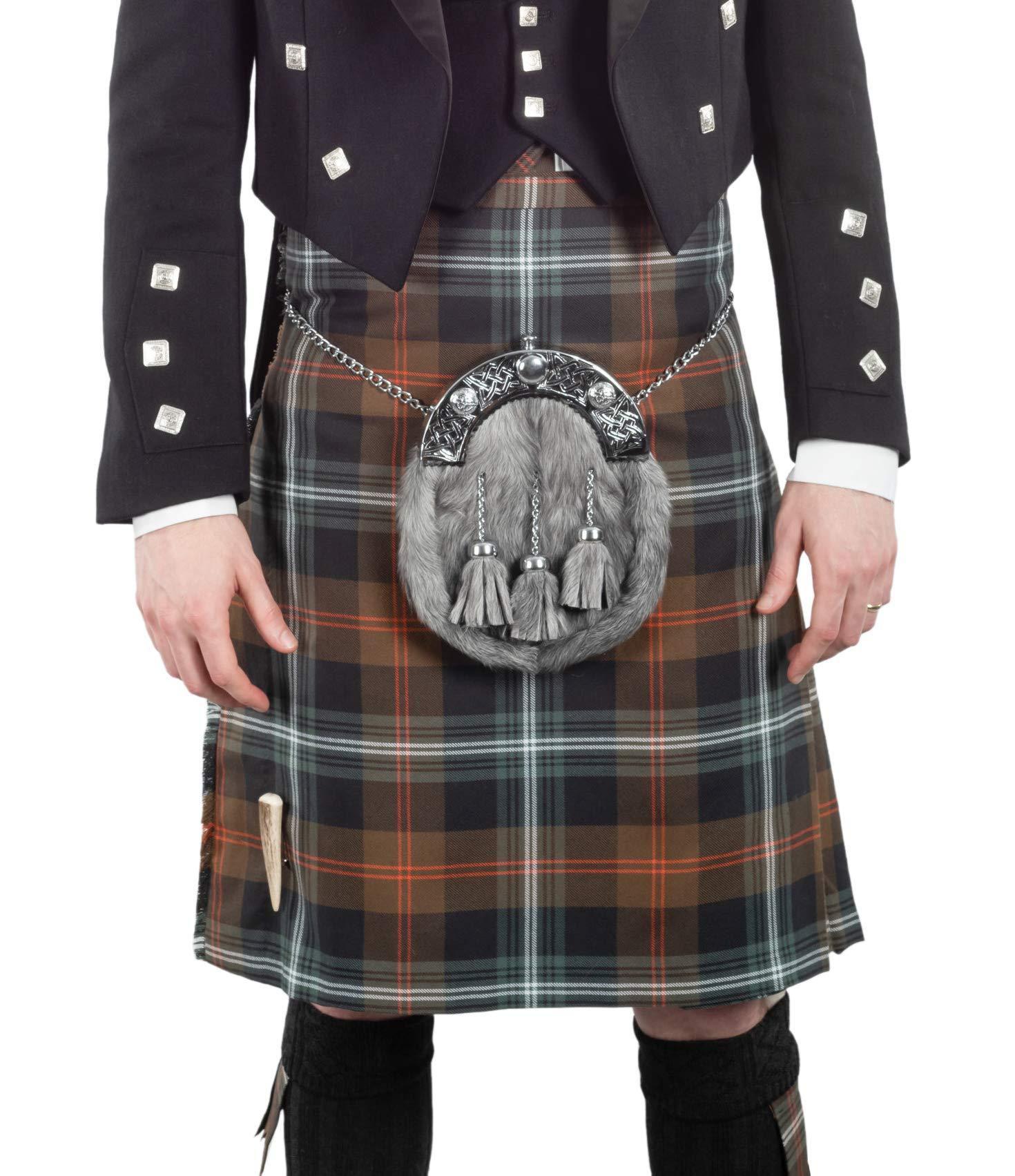 Kilt Society Mens 8 Yard Scottish Kilt Persevere Weathered Brown Tartan 36'' to 40''