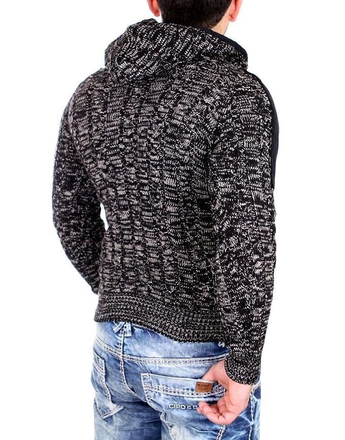 Tazzio 16483 - Jersey de punto grueso para hombre, con capucha: Amazon.es: Ropa y accesorios