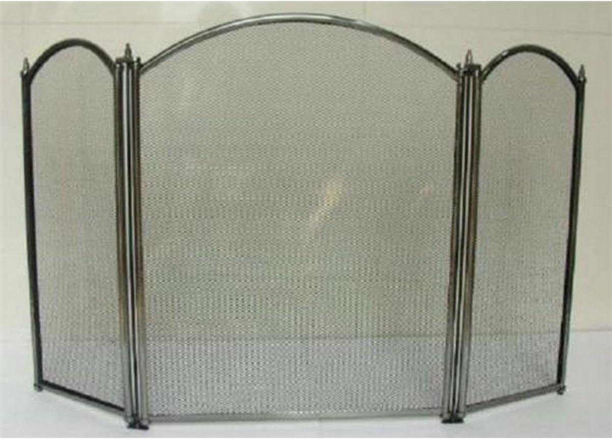 Inglenook Heavy Duty – Rejilla protectora para chimenea fuego pantalla protectora para chimenea (peltre, 3 paneles), diseño curvado: Amazon.es: Bricolaje y herramientas