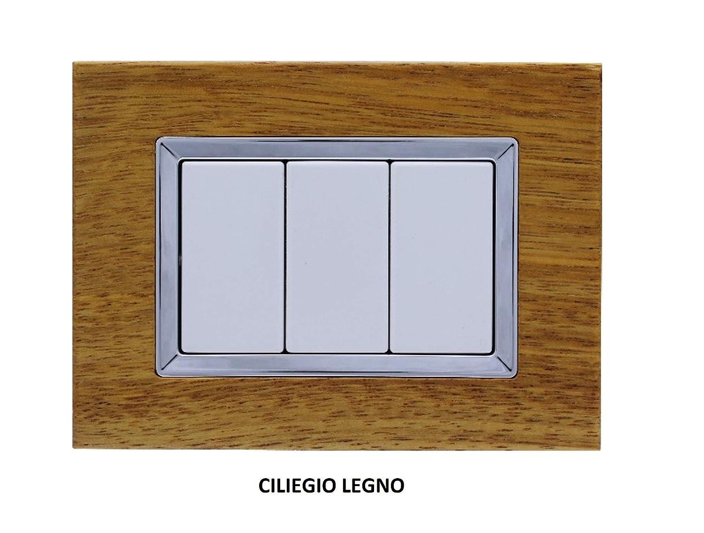 Ciliegio Legno PACCO 3 PEZZI LOTTO STOCK PLACCA IN VETRO O LEGNO INTERRUTTORE INTERRUTTORI COMPATIBILE BTICINO AXOLUTE O MATIX RETTANGOLARE INCASSO 3M MODULI BIANCO NERO FRASSINO CILIEGIO NOCE LEGNO