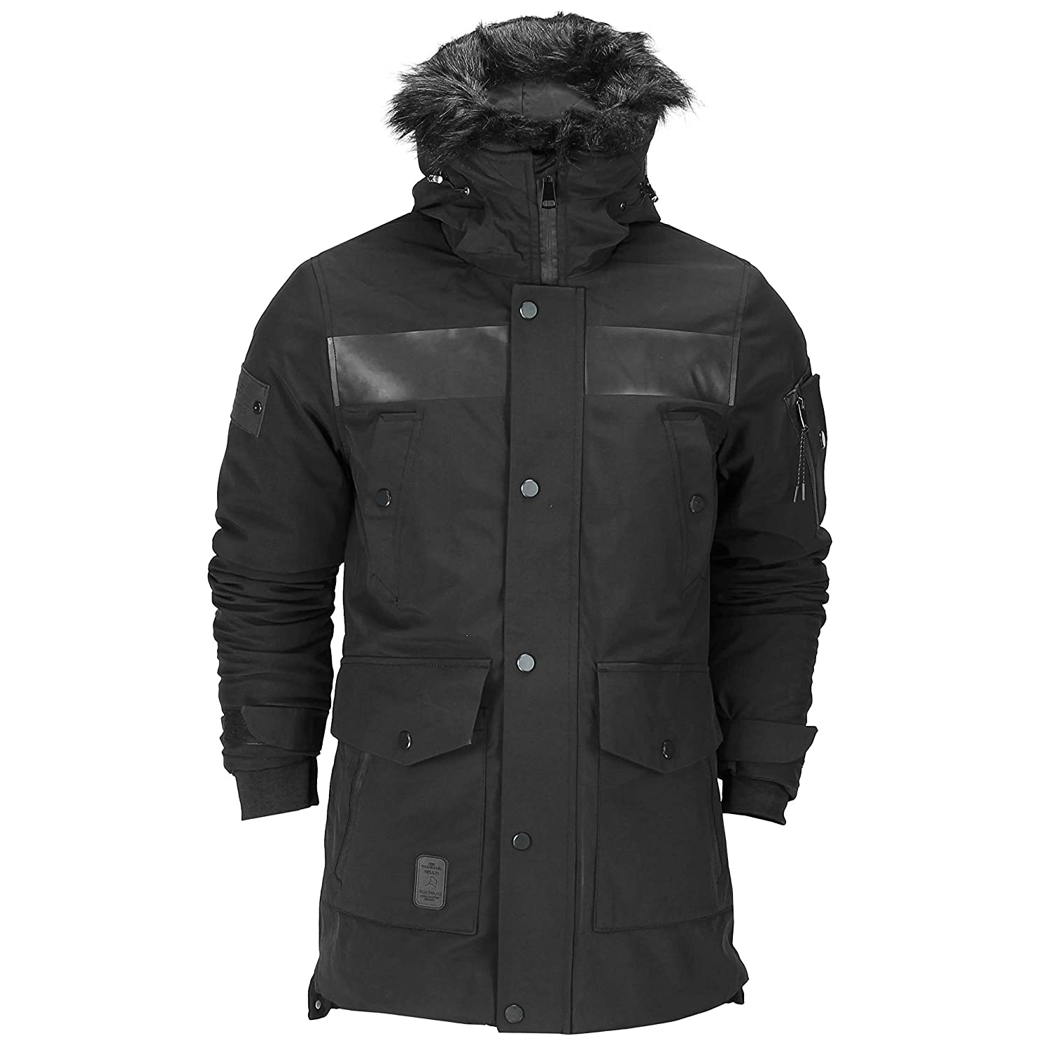 discount coupon buying new how to find Mens Heavy Weight Black Fur Trimmed Hooded Parka Jacket Padded Winter Warm  Waterproof Coat