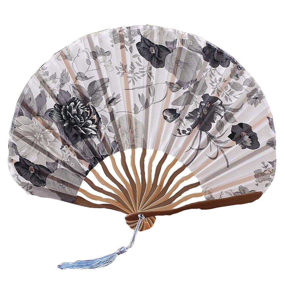 Im chinesischen Stil blühende Blumen Design-Silk Folding Fan Bamboo Fan Grau