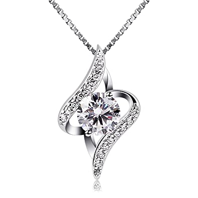 cab3aca6a B.Catcher Women Necklace 925 Sterling Silver Necklace Cubic Zirconia Pendant,  18""