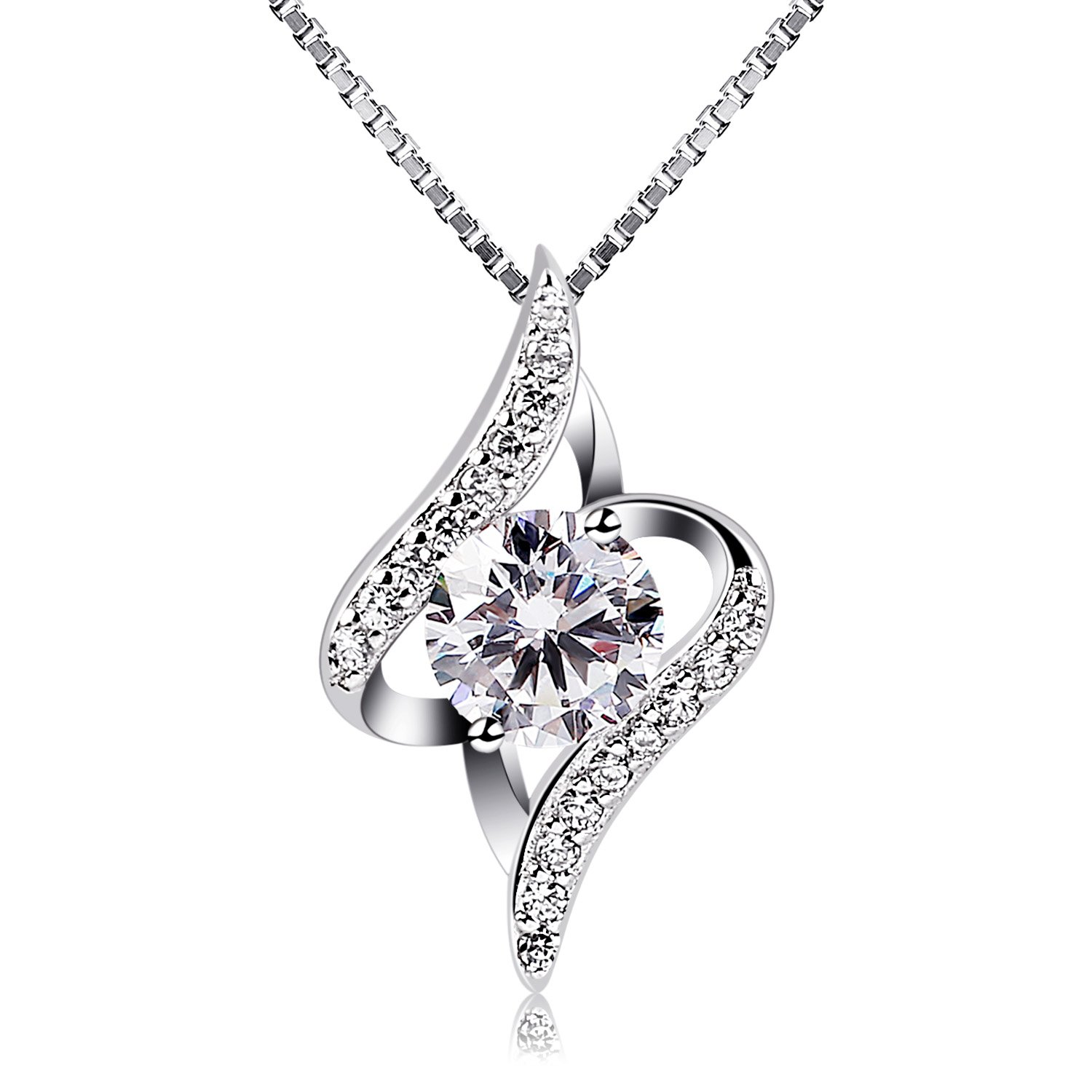 B.Catcher Jewelry for Women Twist Pendant Necklace 925 Sterling Silver Cubic Zirconia with 45 cm Chain