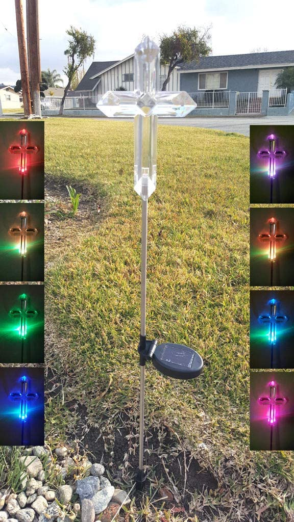 Affordable 2-Pack Acrylic Cross Decorative Solar Power Outdoor Garden Stake Landscape Color Change Lights