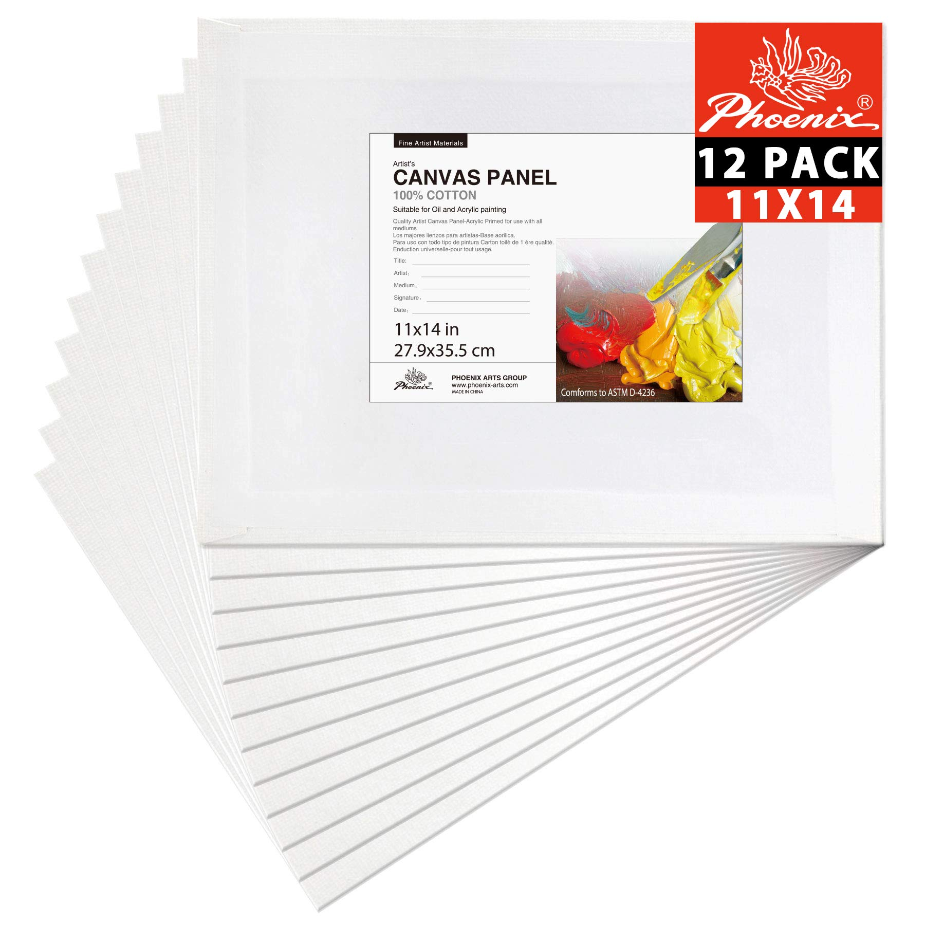 PHOENIX Painting Canvas Panel Boards - 11x14 Inch / 12 Pack - 1/7 Inch Deep Super Value Pack for Professional Artists, Students & Kids