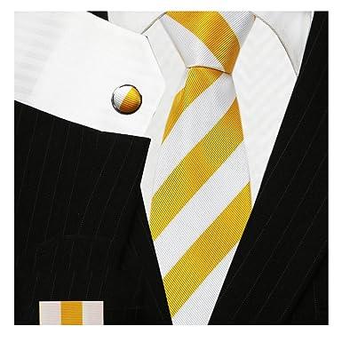 7852ddc7e860 bestow yellow white tie set   striped necktie: Amazon.in: Clothing &  Accessories
