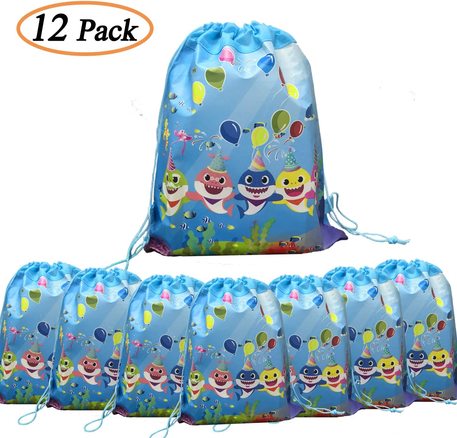 "12 Pack Cute Shark Drawstring Bags, 14"" * 11"" Shark Gift Bags Storage Backpack Birthday Goodie Bags Party Favors for Boys and Girls Birthday Party Supplies"