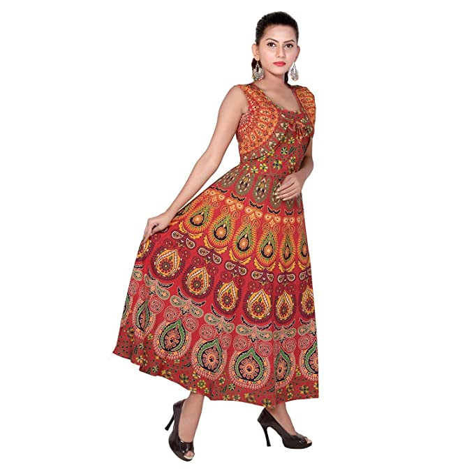ca78f2c8 PINK SWAN Eagle Eye Outfitters Women's Rayon Jaipuri Printed Long Dress  (FRK27, Multicolour, Free Size)