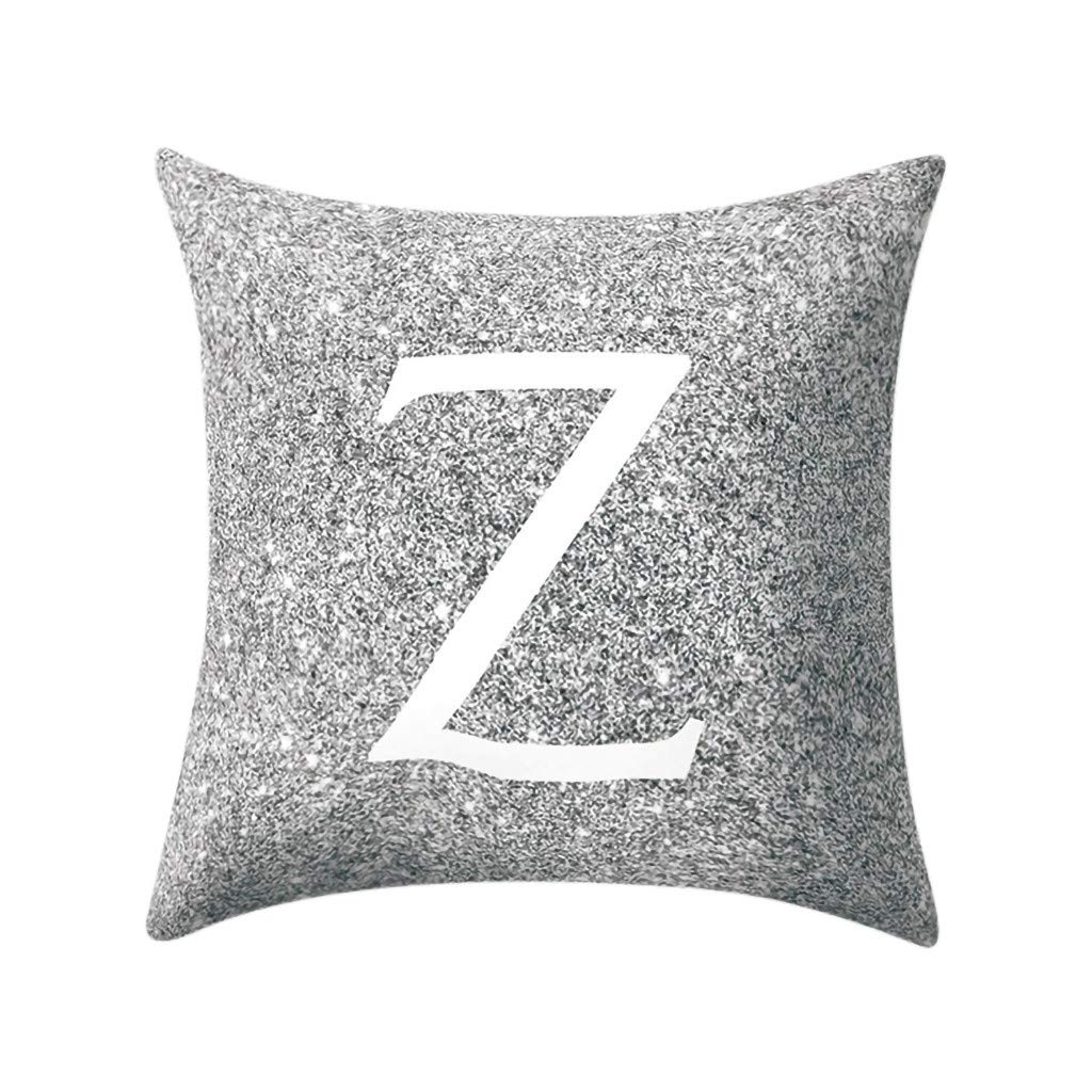 Letter Pillow Case Covers Metallic Throw Pillow Case 18x18'' A-Z Letter Alphabets Cushion Cover Polyester Pillowcase for Home Sofa Couch Decor (Z)