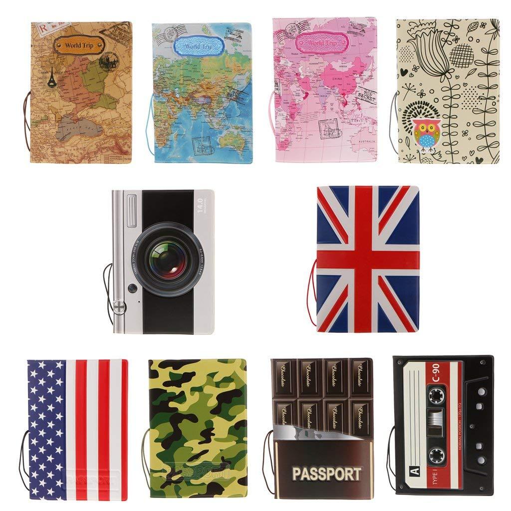 Etui de Passeport Accessoire de Voyage Brun Hangqiao Porte-Passeport en Cuir PVC de Motifs Divers