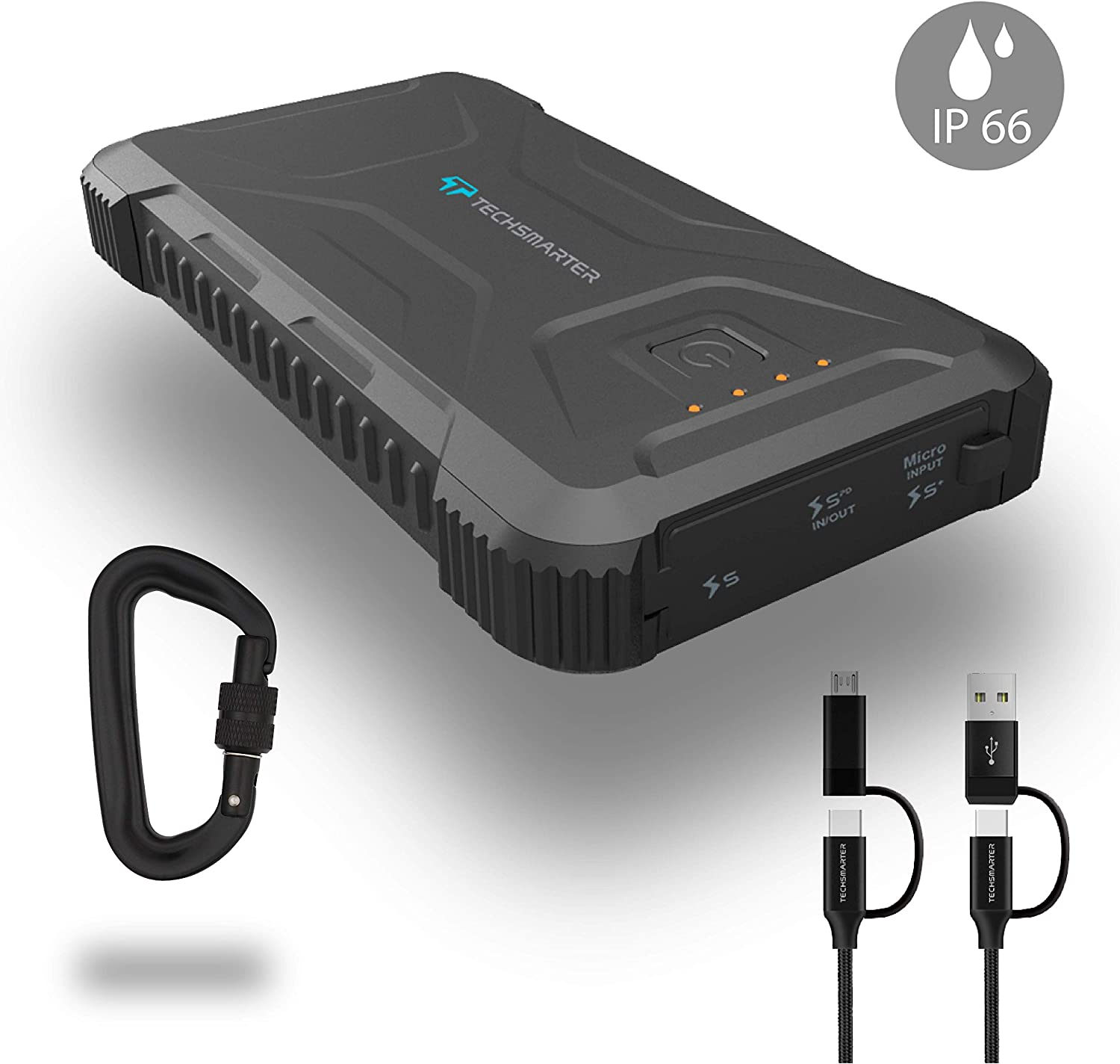 Techsmarter 20,000mah Rugged & Waterproof 18W USB-C PD Port Power Bank. Portable Charger Heavy Duty, Camping, Hiking, Outdoor with Flashlight. Compatible with iPhone, Samsung, iPad, Android
