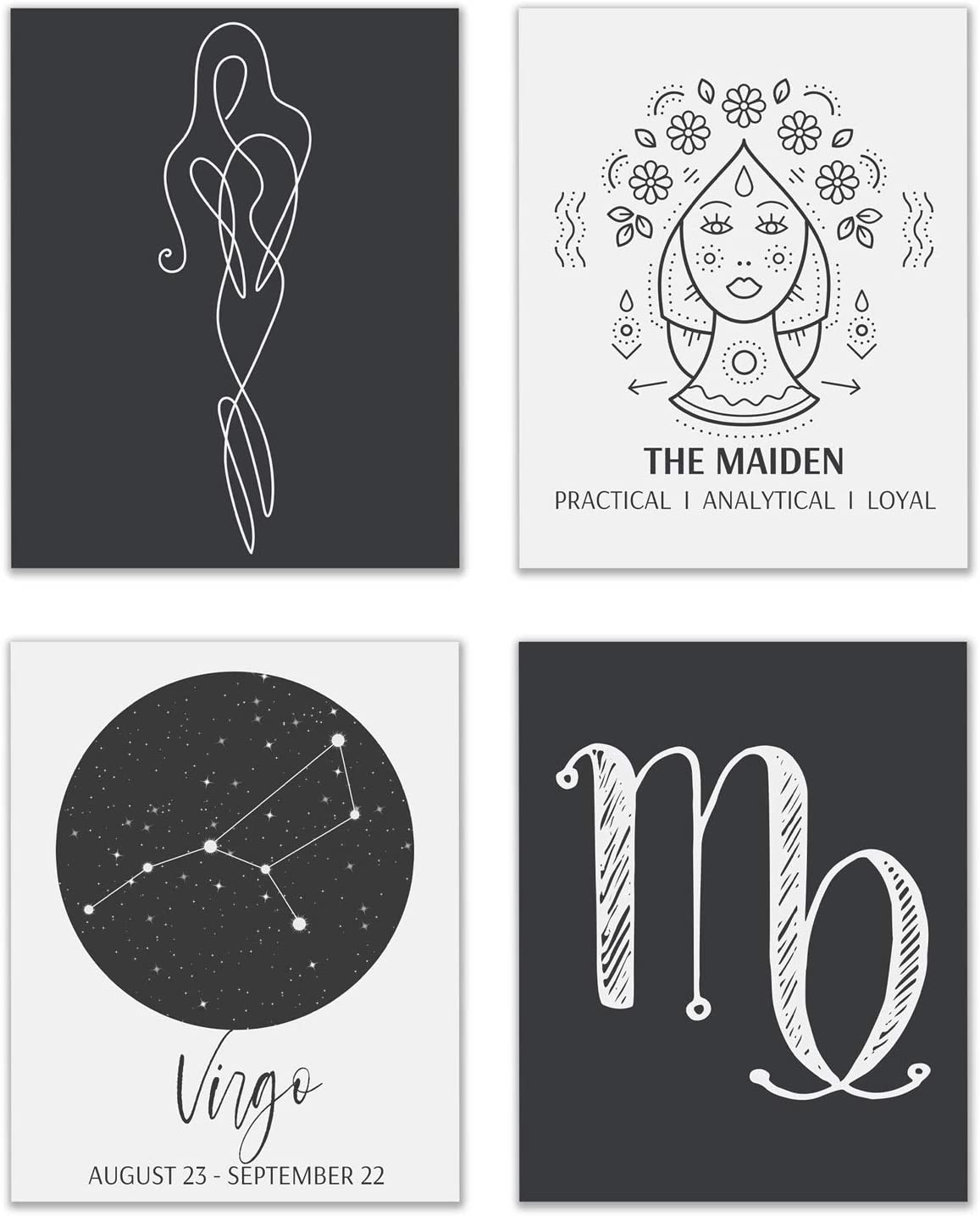 Virgo Astrological Sign Prints - Set of 4 (8x10 Inches) Zodiac Constellation Horoscope Star Sign Four Elements Wall Art Decor - The Maiden - Earth - Mutable - Mercury - Earth