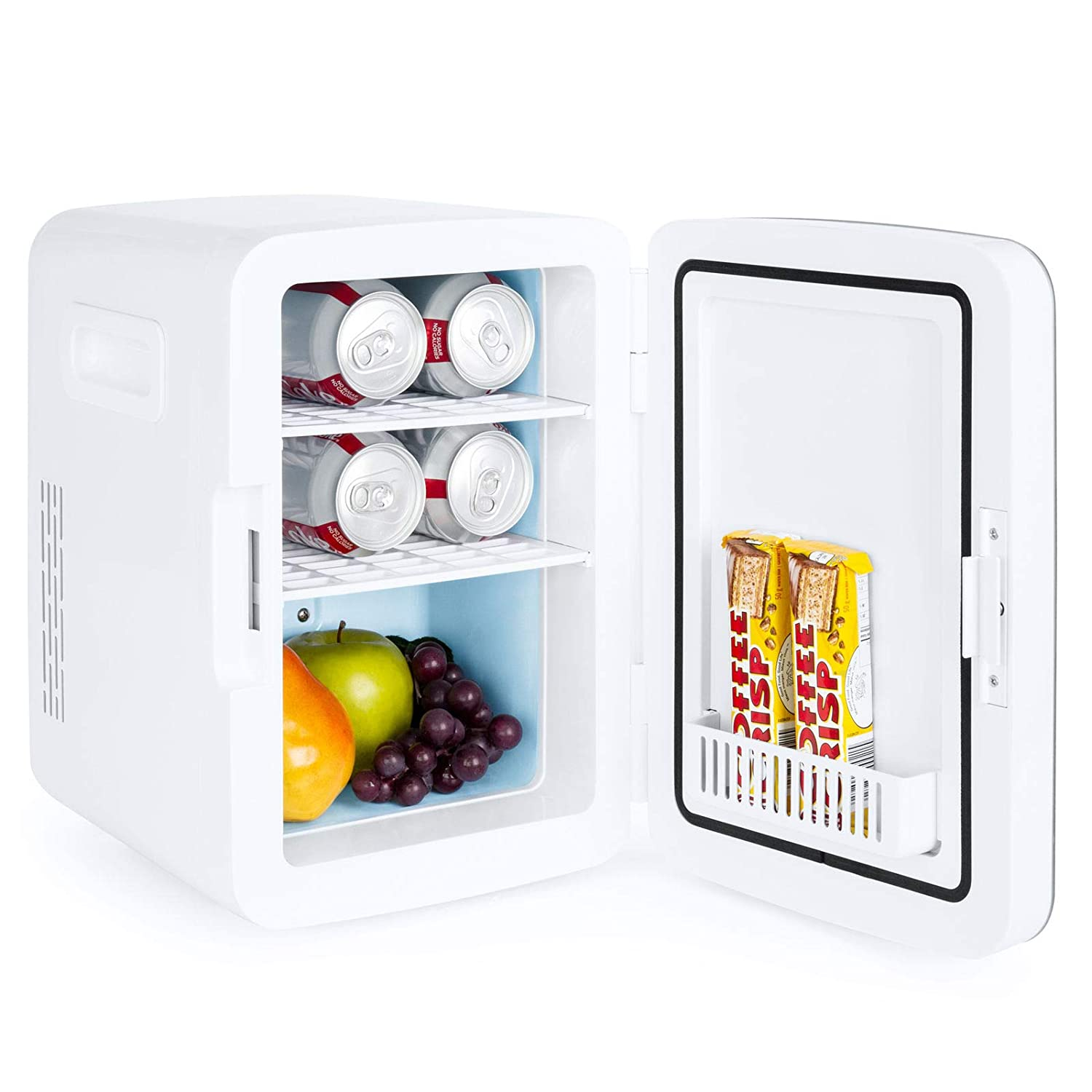 Your Personal Small Refrigerator For Cans Comes With 12v Cigar Powe Cooler For Your Car Or Home With Internal Electric Inverter For Ac-dc Use Set Of 2 Portable Mini Cooler Fridge Color Blue /& Pink