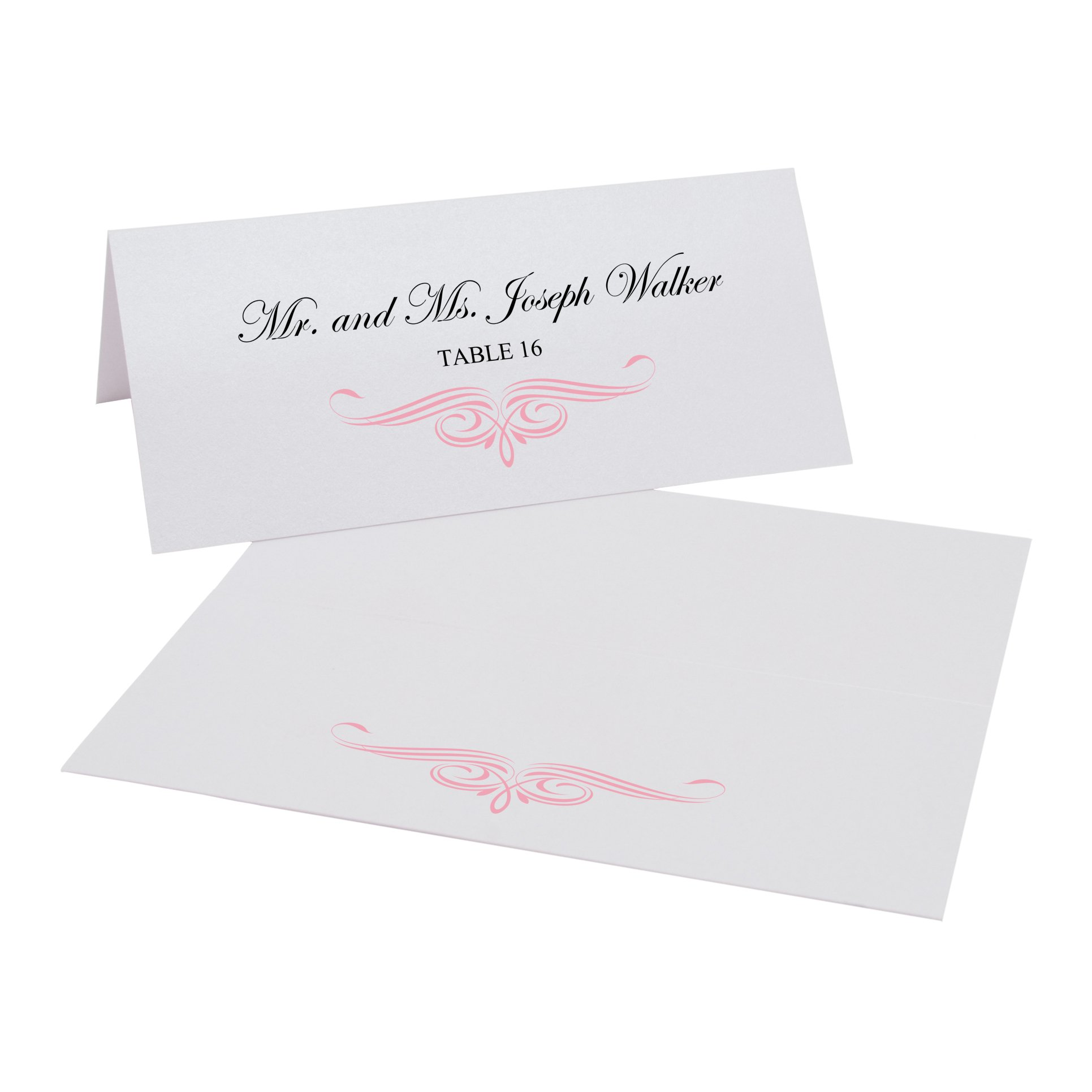 Ornate Flourish Easy Print Place Cards, Pearl White, Pink, Set of 400 (100 Sheets) by Documents and Designs
