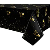 Black and Gold Tablecloth for Birthday Party Supplies - Disposable Plastic Table Cover Clothes for Bday Party Baby Shower Bri