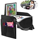 lebogner Kids Car Seat Travel Tray, Sturdy Activity Play and Snack Table with Dry Erase Top for Toddlers, No-Drop iPad/Tablet Holder Lap Desk with Organizer Mesh Pockets for Travel Accessories
