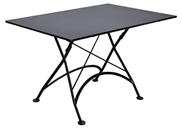 Mobel Designhaus French Café Bistro Folding Table, Jet Black Frame,  32u0026quot; X 48u0026quot