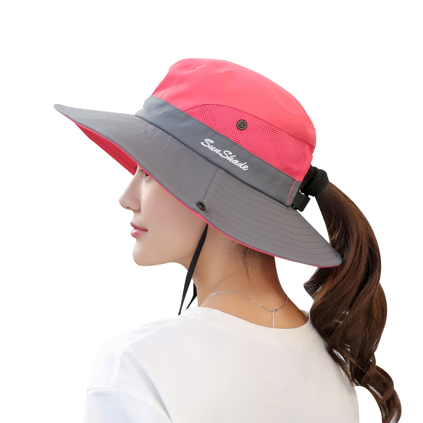 Women's Summer Sun UV Protection Hat Foldable Wide Brim Boonie Hats for Beach Safari Fishing