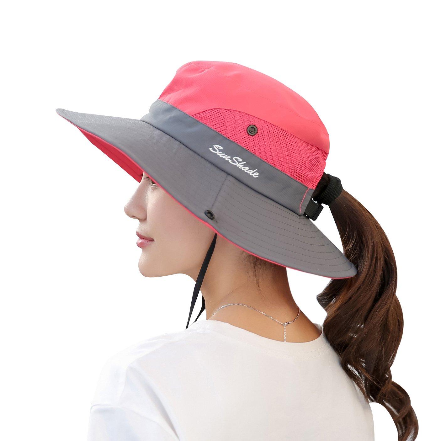 Muryobao Women's Summer Sun Hat Outdoor UV Protection Foldable Wide Brim Bucket Boonie Hats Beach Safari Fishing Cap Watermelon Red