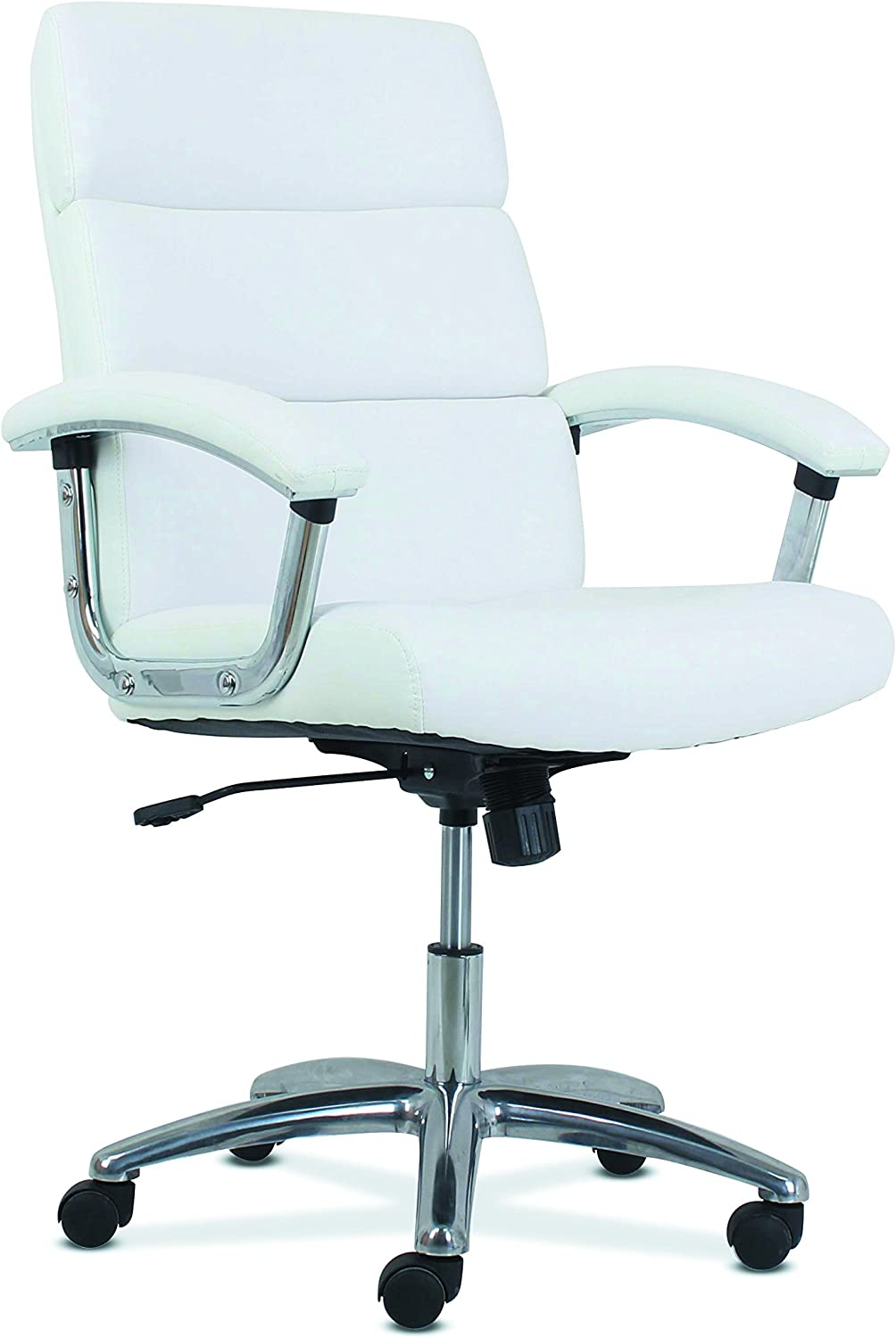 HON Traction High-Back Modern Executive Chair - Leather Computer Chair for Office Desk, White (HVL103)